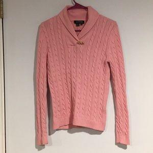 LAUREN by Ralph Lauren Pink Cable knit sweater Sm